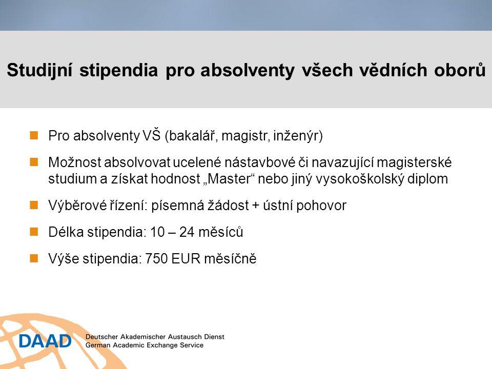 Studijní stipendia pro absolventy všech vědních oborů