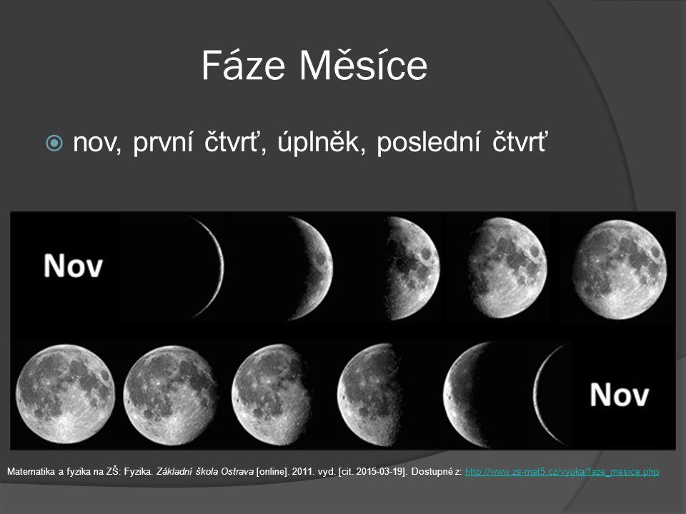 Fáze Měsíce nov, první čtvrť, úplněk, poslední čtvrť