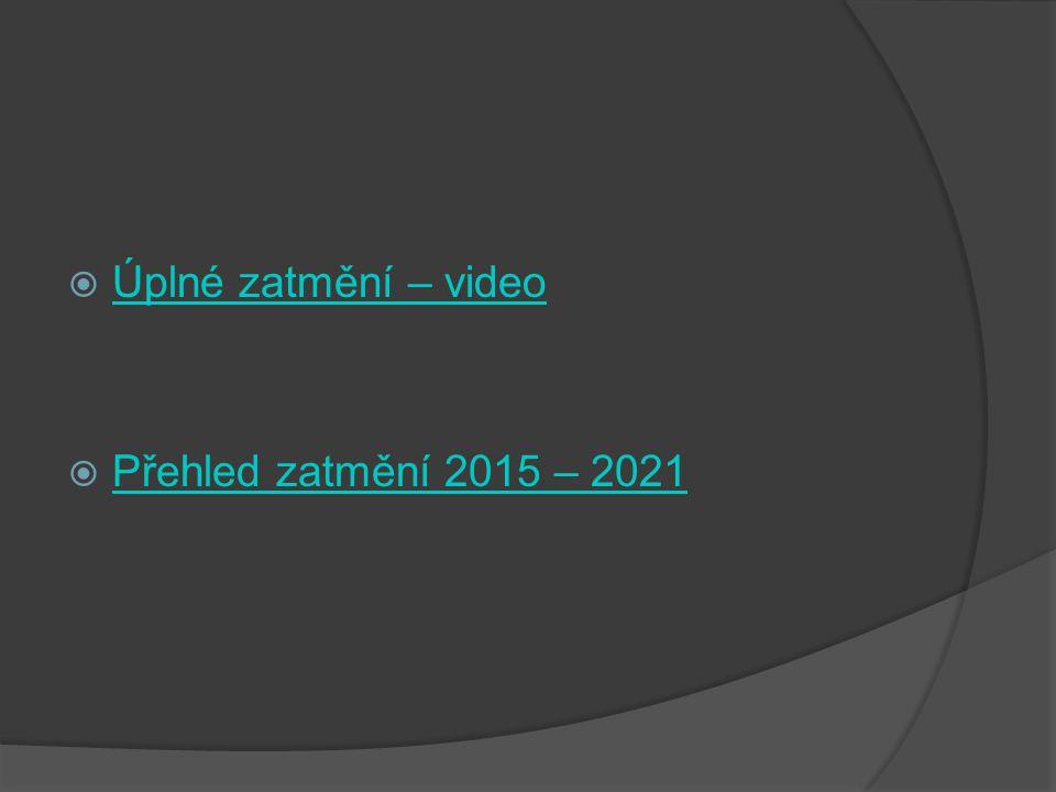 Úplné zatmění – video Přehled zatmění 2015 – 2021