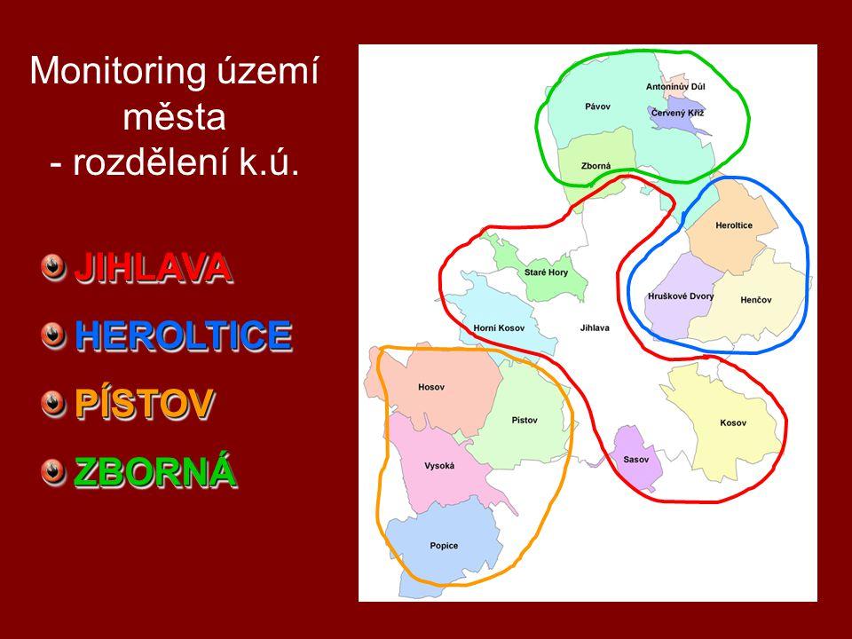 Monitoring území města - rozdělení k.ú.