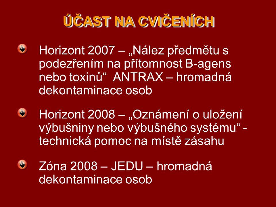 """ÚČAST NA CVIČENÍCH Horizont 2007 – """"Nález předmětu s podezřením na přítomnost B-agens nebo toxinů ANTRAX – hromadná dekontaminace osob."""