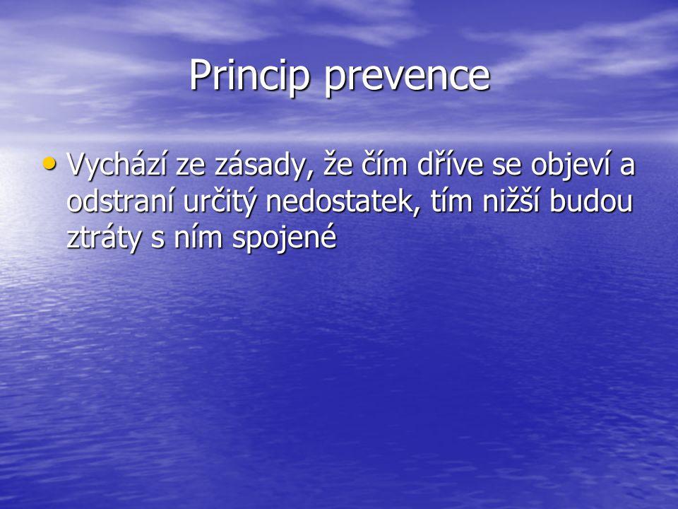 Princip prevence Vychází ze zásady, že čím dříve se objeví a odstraní určitý nedostatek, tím nižší budou ztráty s ním spojené.