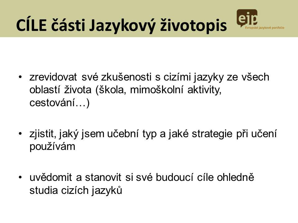 CÍLE části Jazykový životopis