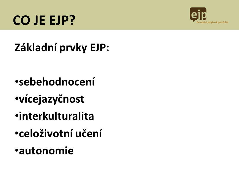 CO JE EJP Základní prvky EJP: sebehodnocení vícejazyčnost