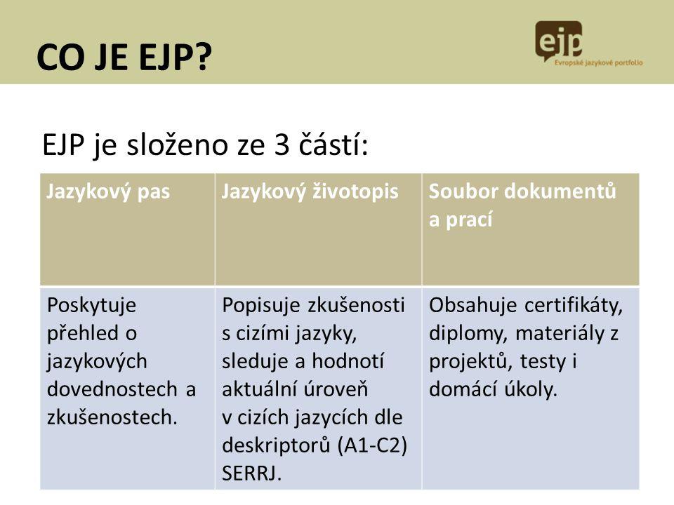 CO JE EJP EJP je složeno ze 3 částí: Jazykový pas Jazykový životopis