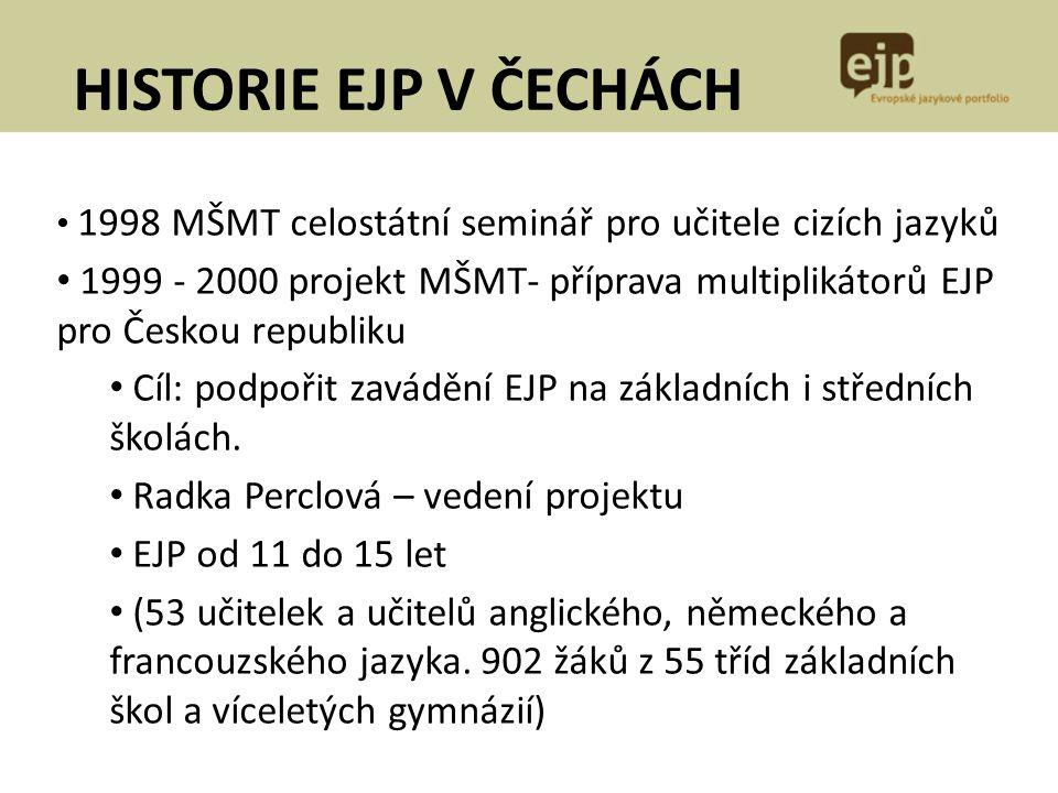 HISTORIE EJP V ČECHÁCH 1998 MŠMT celostátní seminář pro učitele cizích jazyků.