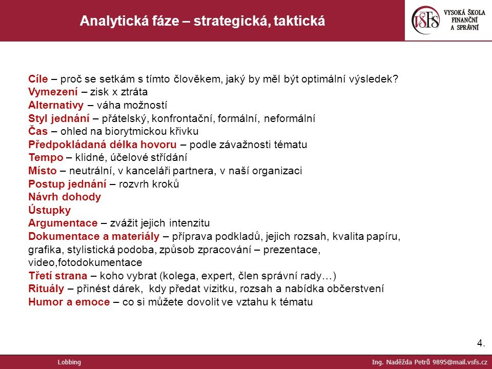 Analytická fáze – strategická, taktická