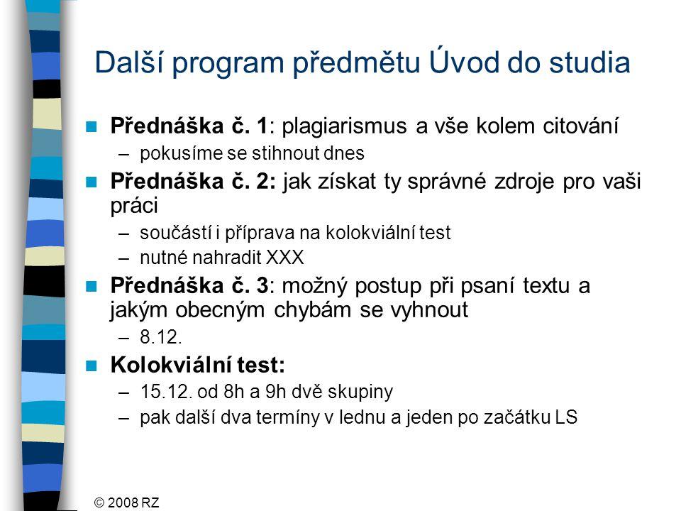 Další program předmětu Úvod do studia