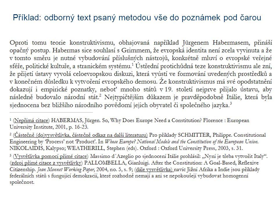 Příklad: odborný text psaný metodou vše do poznámek pod čarou
