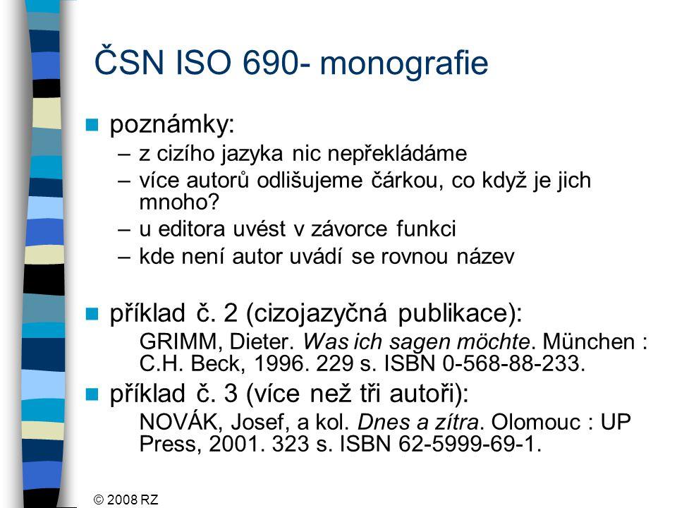 ČSN ISO 690- monografie poznámky: