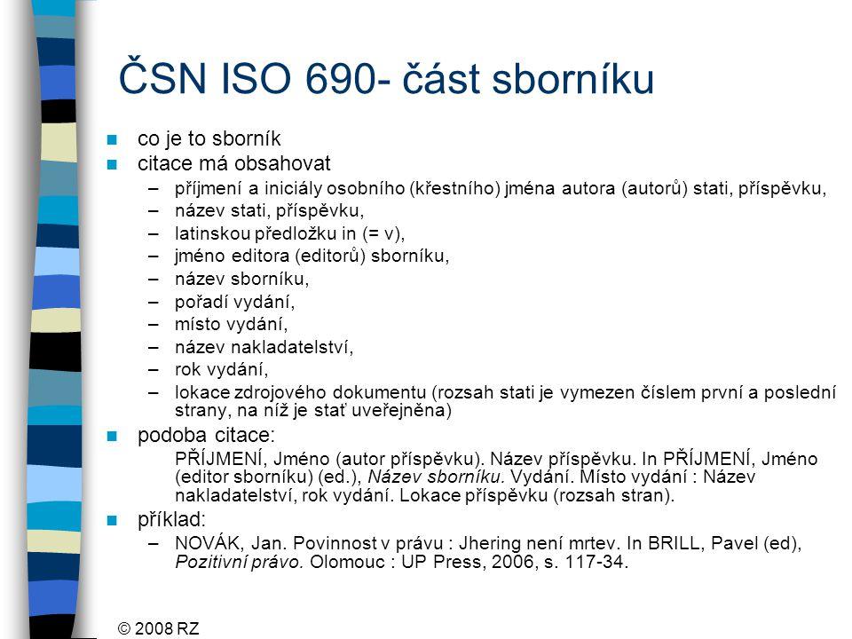 ČSN ISO 690- část sborníku co je to sborník citace má obsahovat