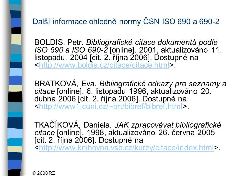 Další informace ohledně normy ČSN ISO 690 a 690-2