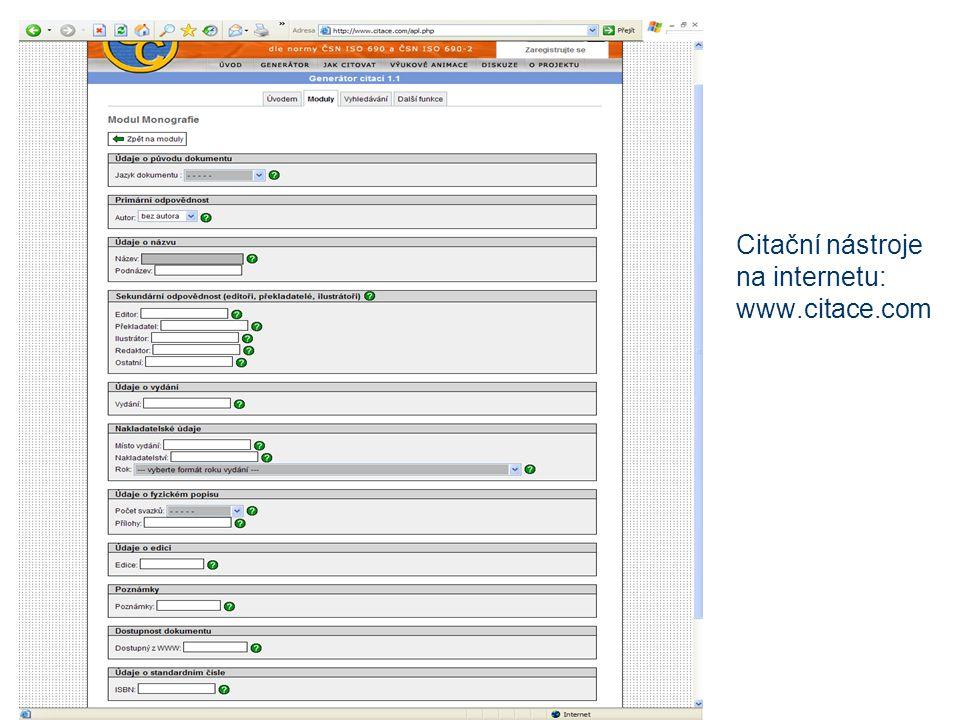 Citační nástroje na internetu: www.citace.com
