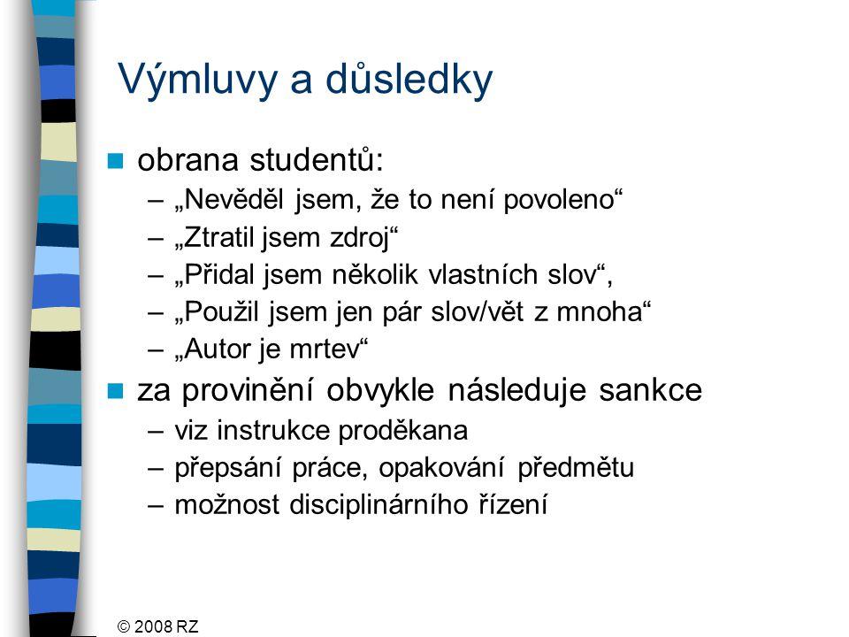 Výmluvy a důsledky obrana studentů:
