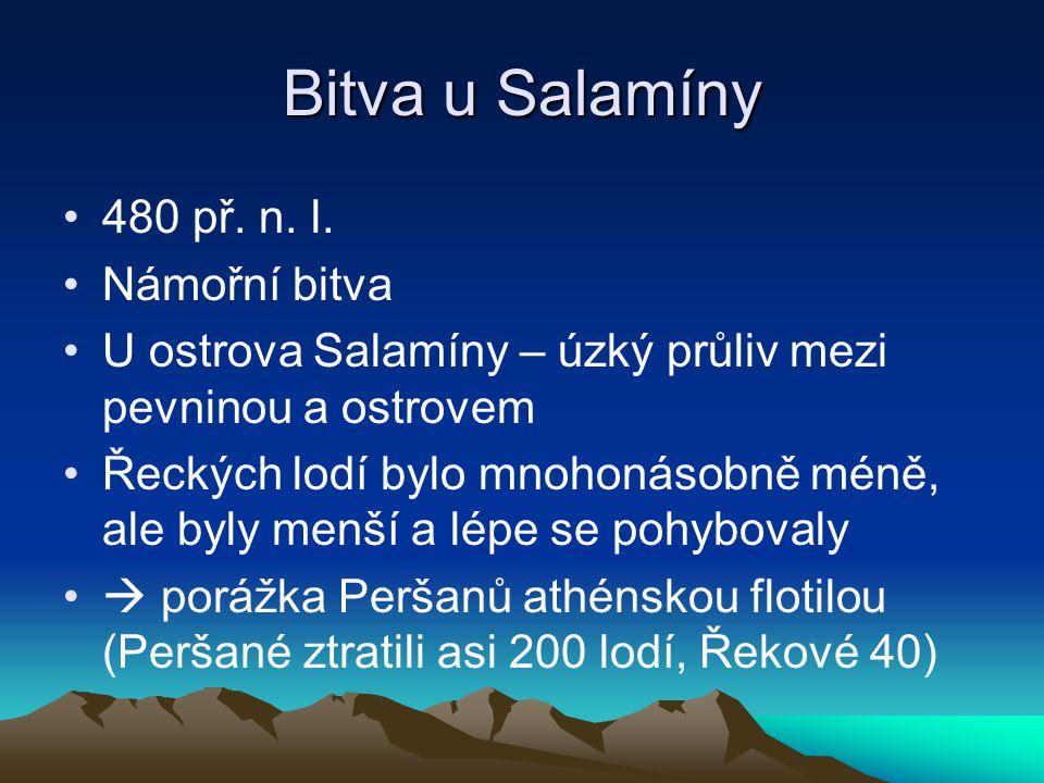 Bitva u Salamíny 480 př. n. l. Námořní bitva