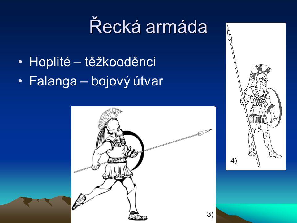 Řecká armáda Hoplité – těžkooděnci Falanga – bojový útvar 4) 3)