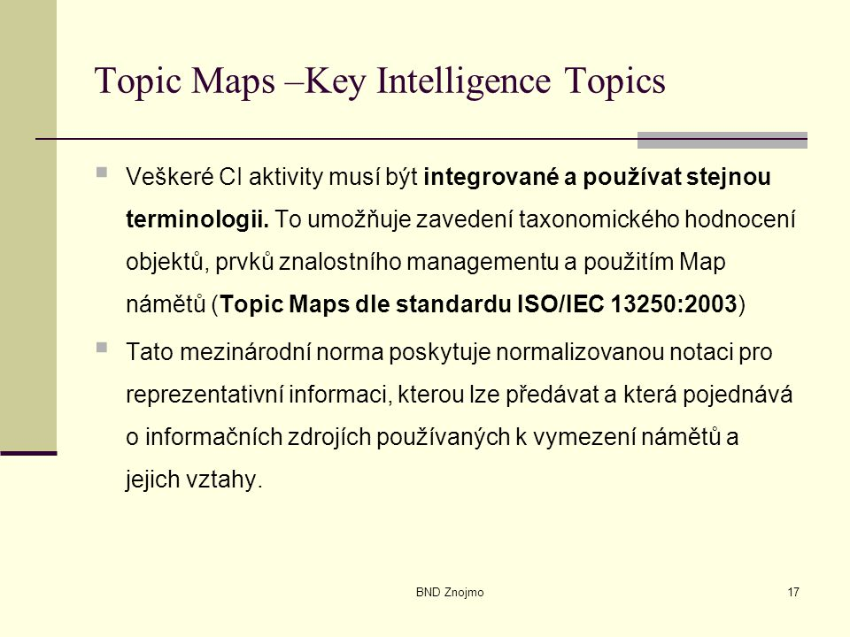Topic Maps –Key Intelligence Topics