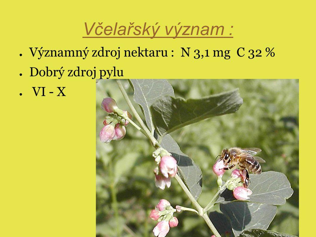 Včelařský význam : Významný zdroj nektaru : N 3,1 mg C 32 %