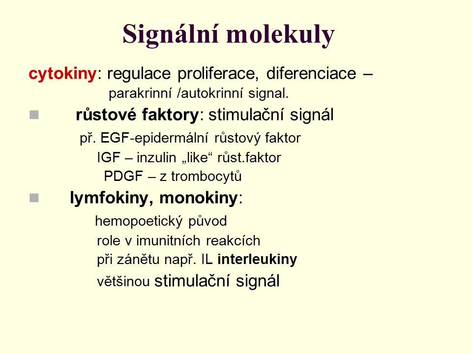 Signální molekuly cytokiny: regulace proliferace, diferenciace –