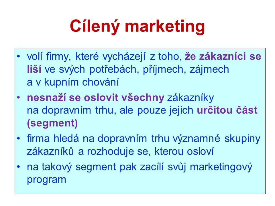 Cílený marketing volí firmy, které vycházejí z toho, že zákazníci se liší ve svých potřebách, příjmech, zájmech a v kupním chování.