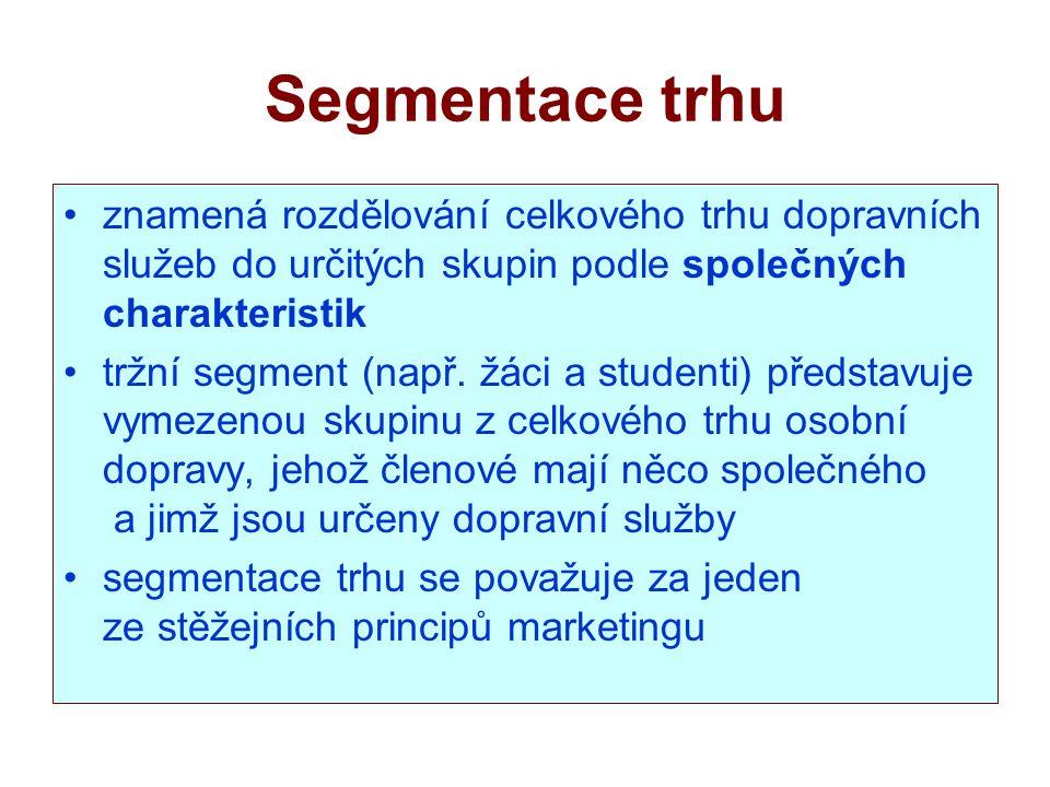 Segmentace trhu znamená rozdělování celkového trhu dopravních služeb do určitých skupin podle společných charakteristik.