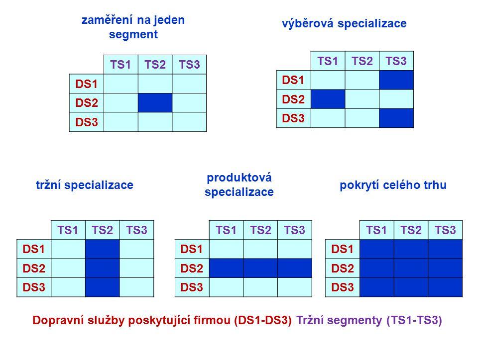 zaměření na jeden segment výběrová specializace TS1 TS2 TS3 DS1 DS2