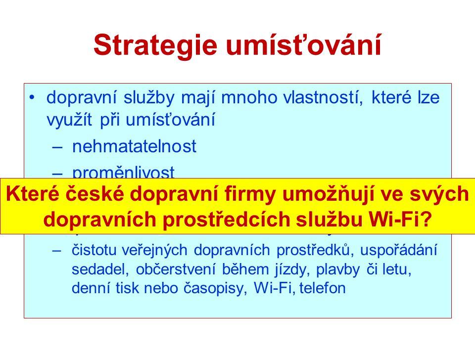 Strategie umísťování dopravní služby mají mnoho vlastností, které lze využít při umísťování. nehmatatelnost.