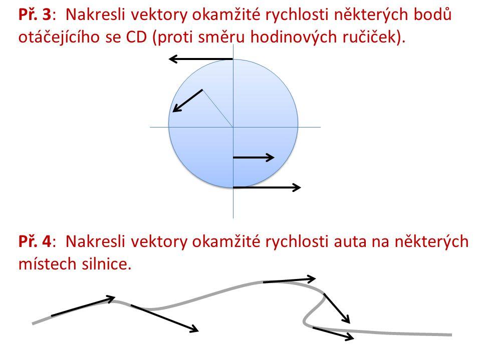Př. 3: Nakresli vektory okamžité rychlosti některých bodů otáčejícího se CD (proti směru hodinových ručiček).