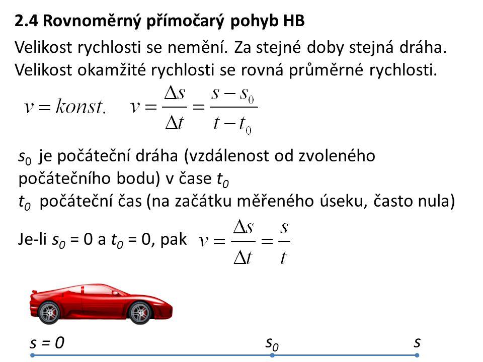 2.4 Rovnoměrný přímočarý pohyb HB