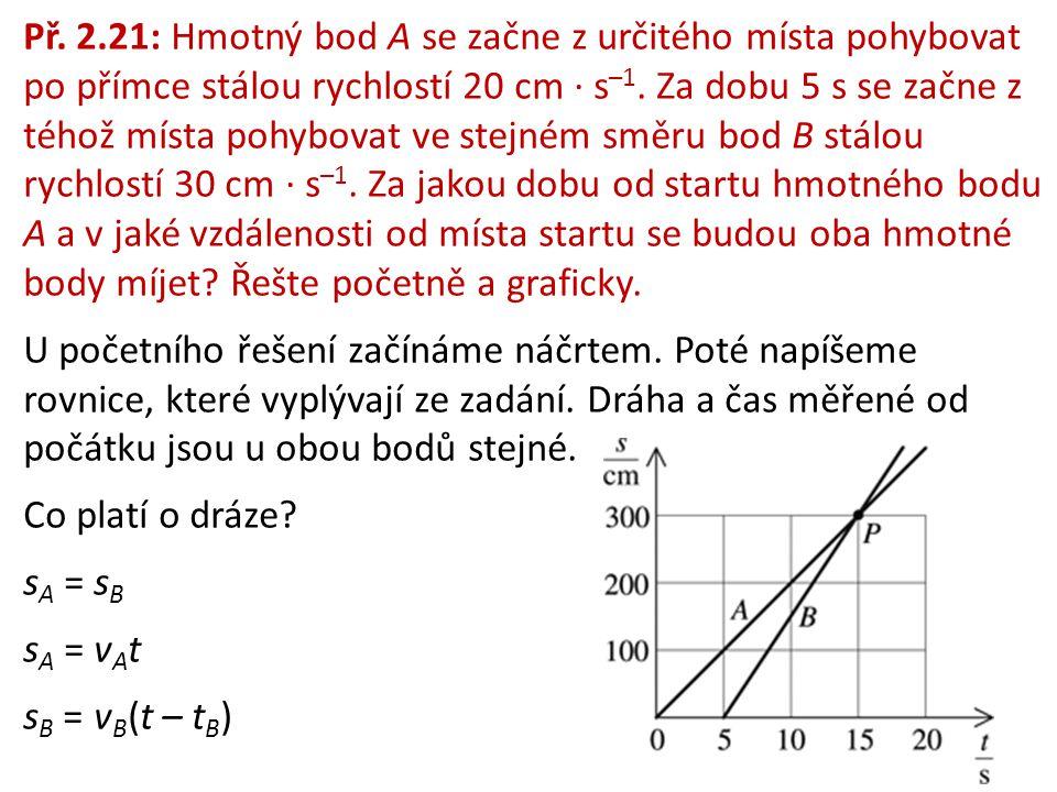 Př. 2.21: Hmotný bod A se začne z určitého místa pohybovat po přímce stálou rychlostí 20 cm ∙ s–1. Za dobu 5 s se začne z téhož místa pohybovat ve stejném směru bod B stálou rychlostí 30 cm ∙ s–1. Za jakou dobu od startu hmotného bodu A a v jaké vzdálenosti od místa startu se budou oba hmotné body míjet Řešte početně a graficky.