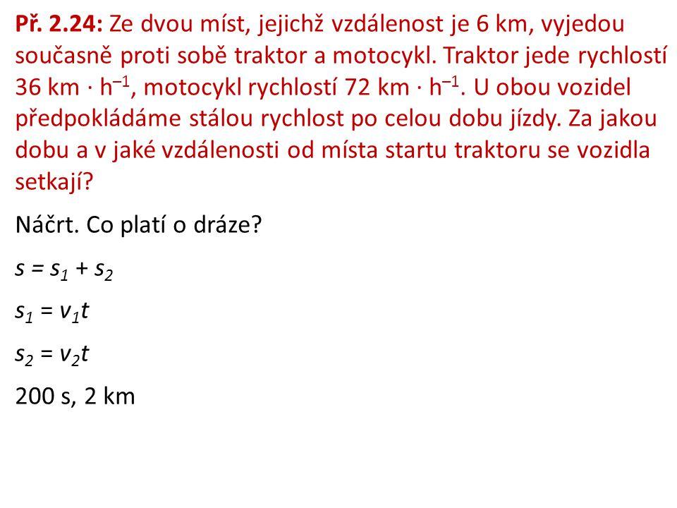 Př. 2.24: Ze dvou míst, jejichž vzdálenost je 6 km, vyjedou současně proti sobě traktor a motocykl. Traktor jede rychlostí 36 km ∙ h–1, motocykl rychlostí 72 km ∙ h–1. U obou vozidel předpokládáme stálou rychlost po celou dobu jízdy. Za jakou dobu a v jaké vzdálenosti od místa startu traktoru se vozidla setkají