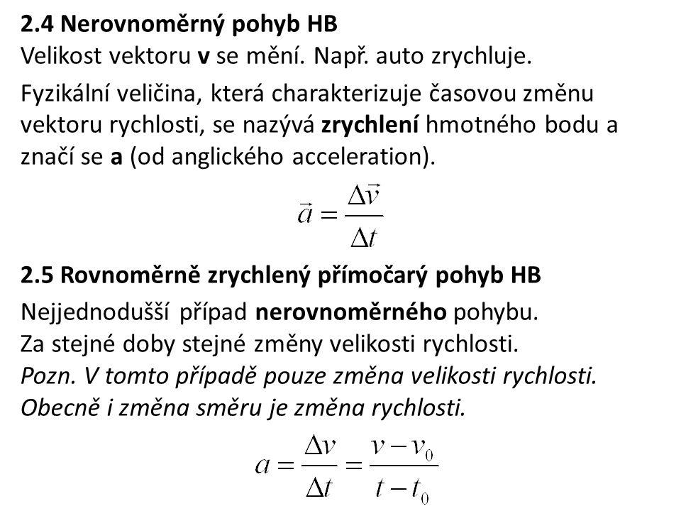 2.4 Nerovnoměrný pohyb HB Velikost vektoru v se mění. Např. auto zrychluje.