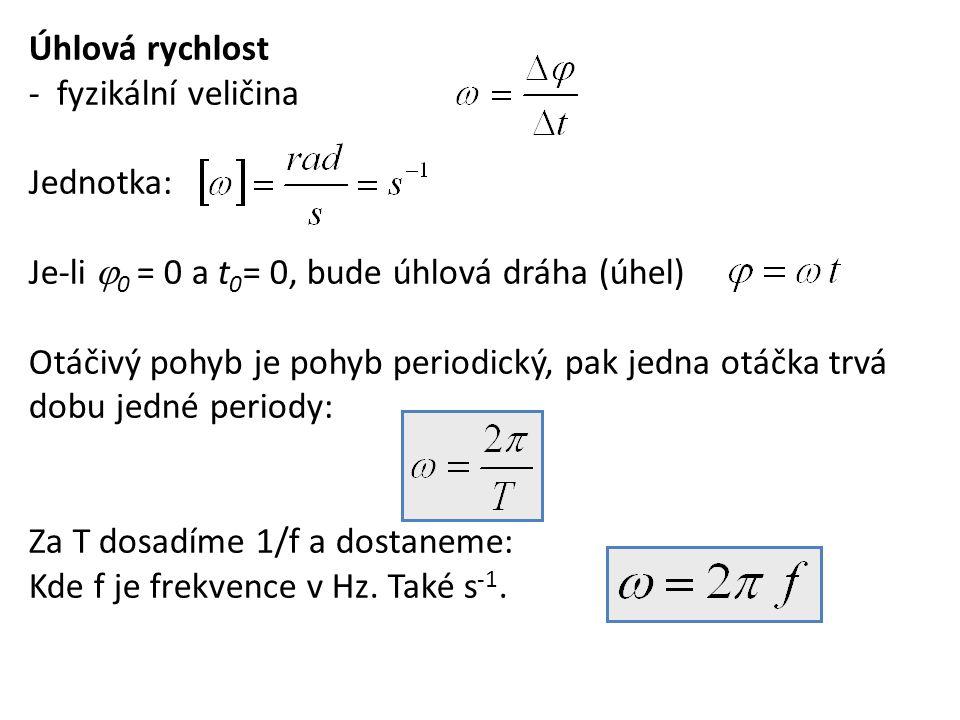 Úhlová rychlost - fyzikální veličina. Jednotka: Je-li 0 = 0 a t0= 0, bude úhlová dráha (úhel)