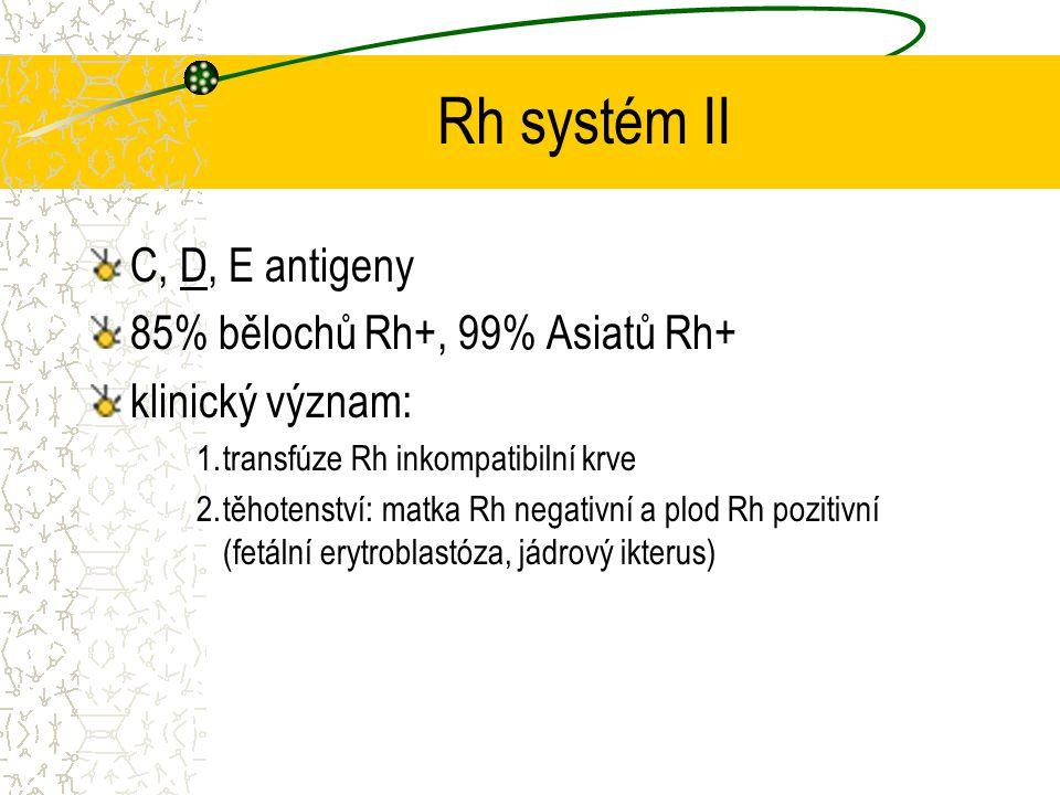 Rh systém II C, D, E antigeny 85% bělochů Rh+, 99% Asiatů Rh+