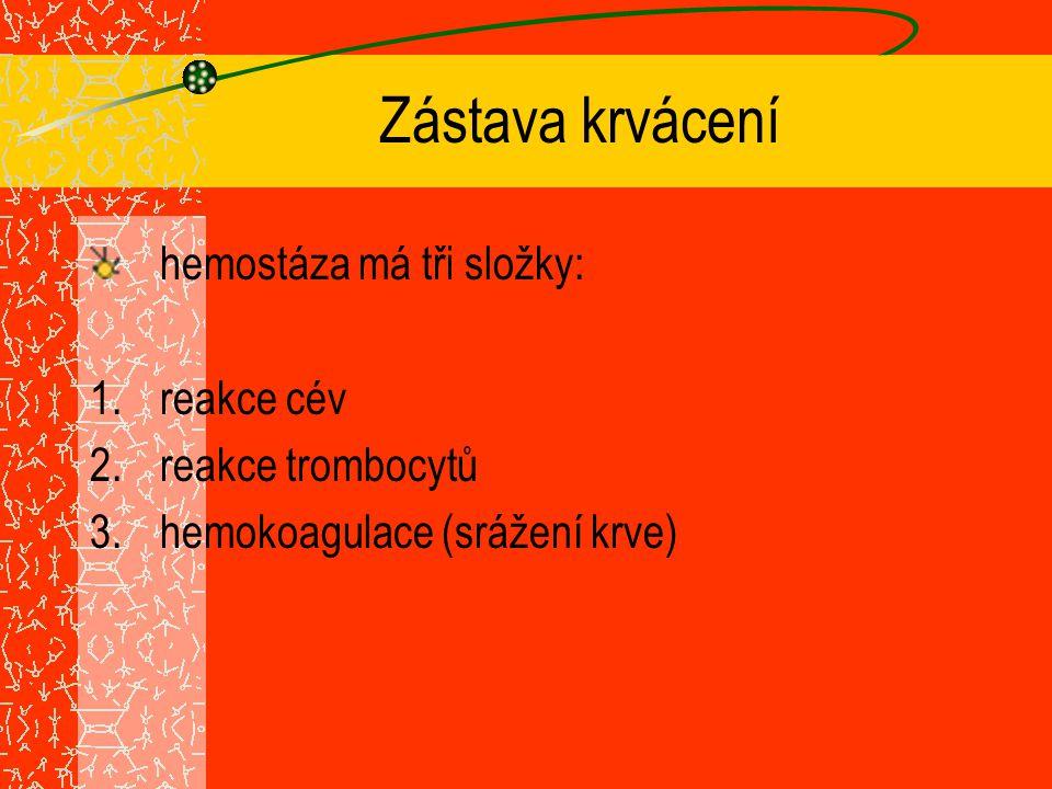 Zástava krvácení hemostáza má tři složky: reakce cév reakce trombocytů