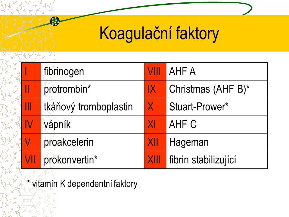 Koagulační faktory I fibrinogen VIII AHF A II protrombin* IX
