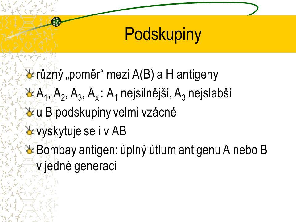 """Podskupiny různý """"poměr mezi A(B) a H antigeny"""
