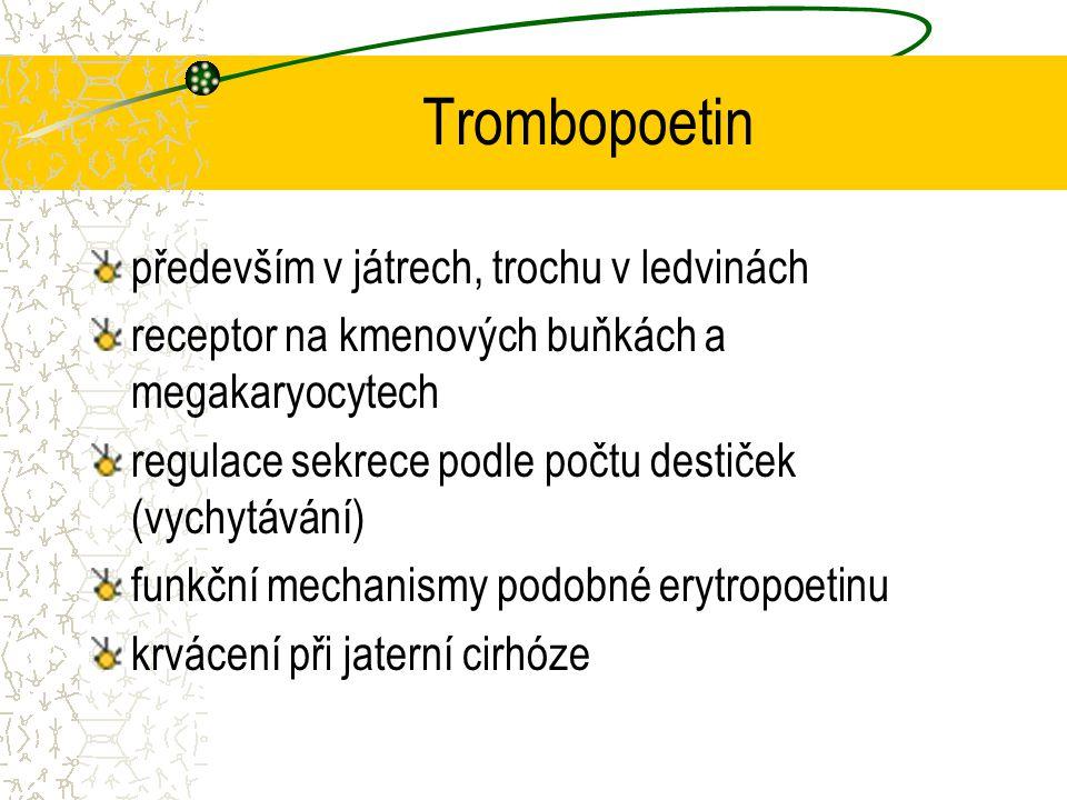 Trombopoetin především v játrech, trochu v ledvinách