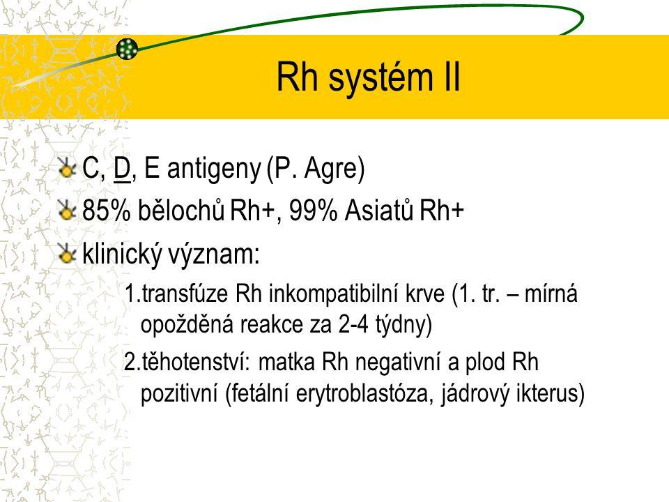 Rh systém II C, D, E antigeny (P. Agre)
