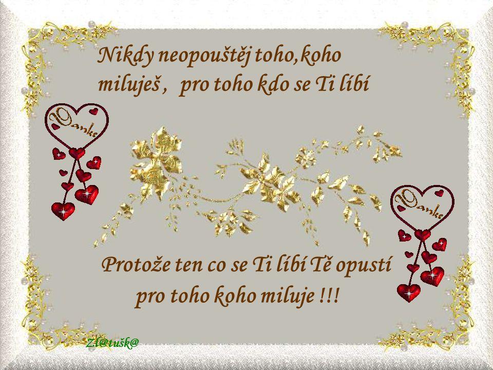 Nikdy neopouštěj toho,koho miluješ , pro toho kdo se Ti líbí