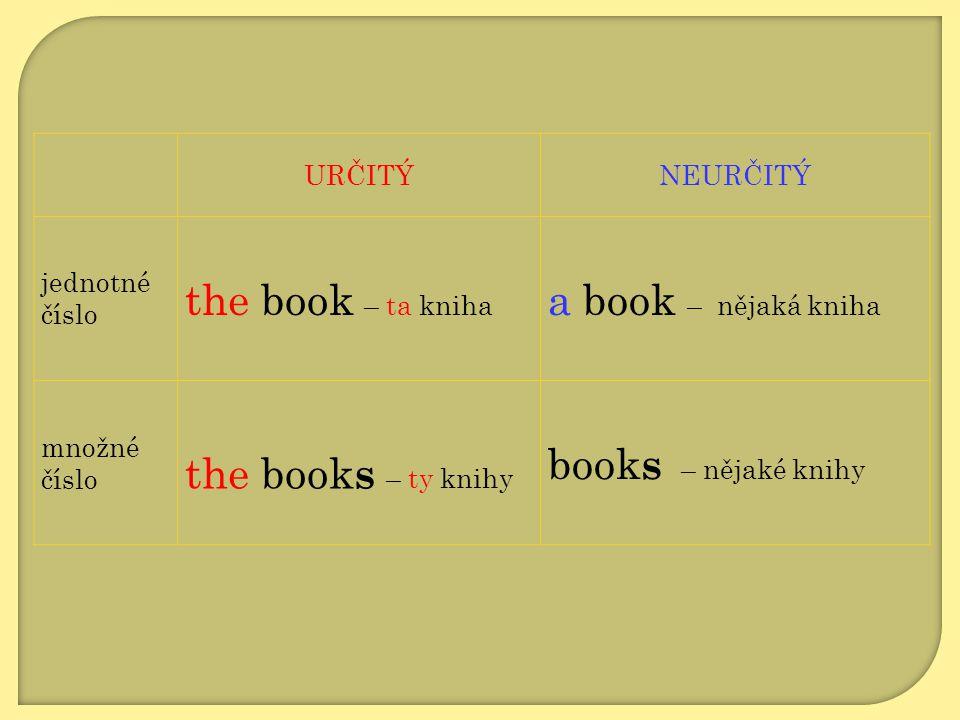 the book – ta kniha a book – nějaká kniha the books – ty knihy