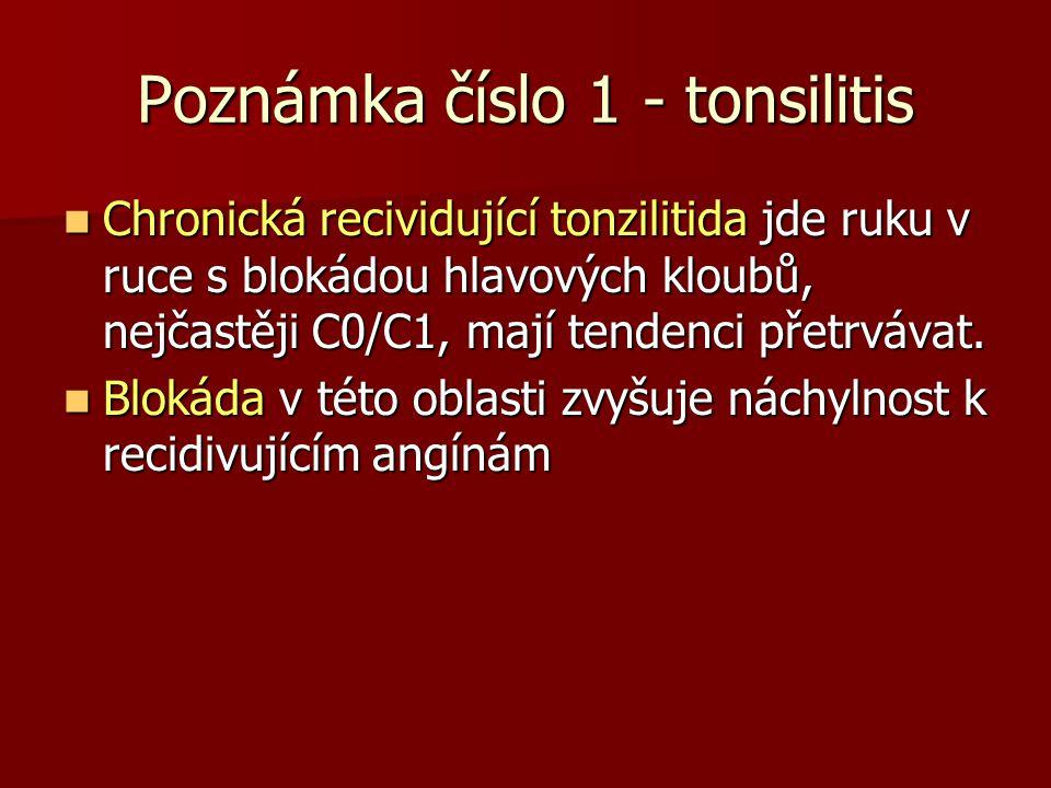 Poznámka číslo 1 - tonsilitis