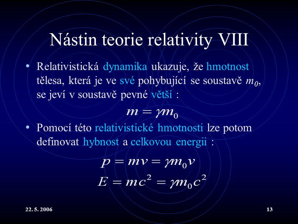 Nástin teorie relativity VIII