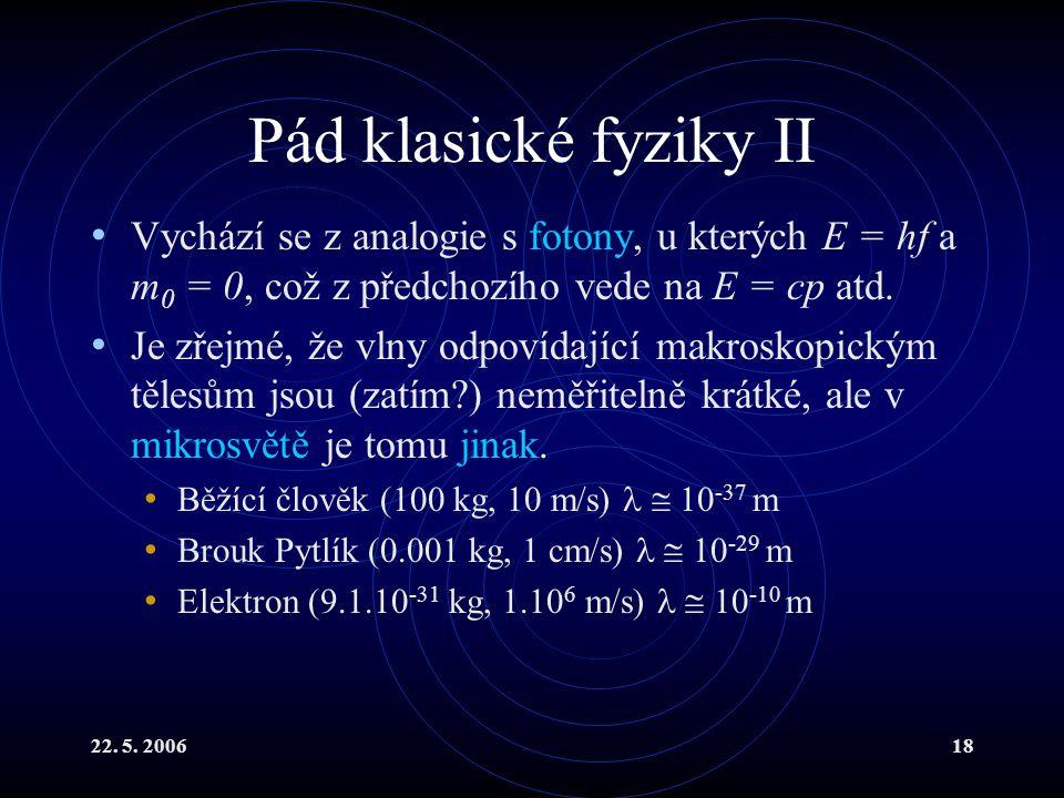Pád klasické fyziky II Vychází se z analogie s fotony, u kterých E = hf a m0 = 0, což z předchozího vede na E = cp atd.