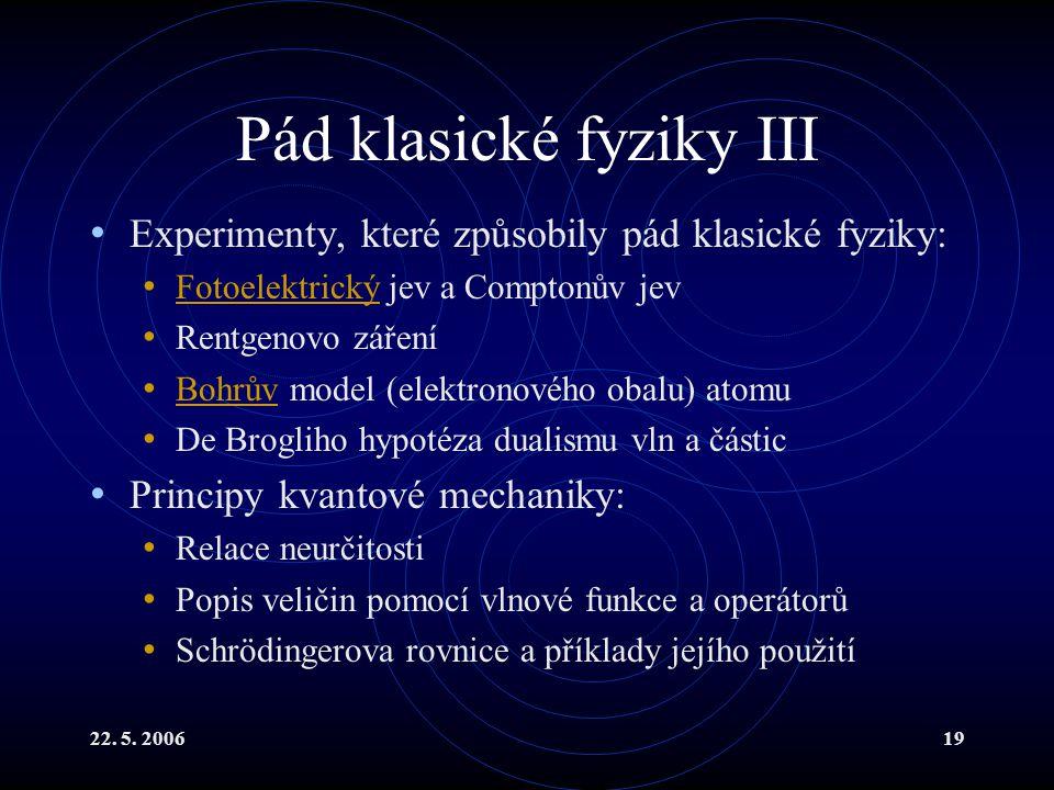 Pád klasické fyziky III