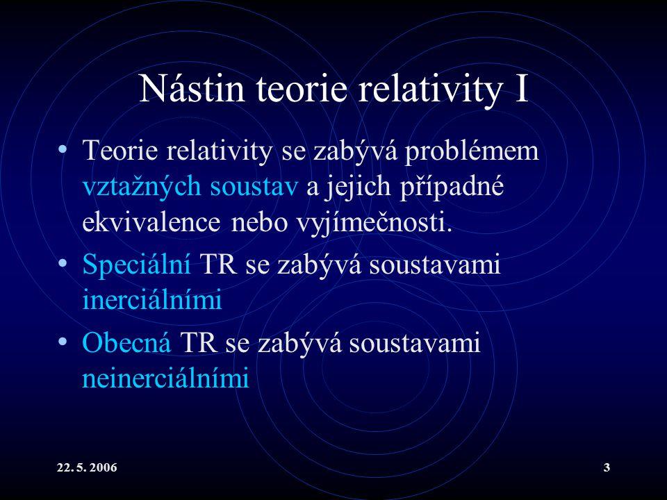 Nástin teorie relativity I