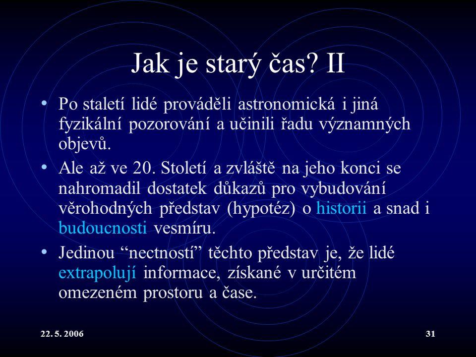 Jak je starý čas II Po staletí lidé prováděli astronomická i jiná fyzikální pozorování a učinili řadu významných objevů.