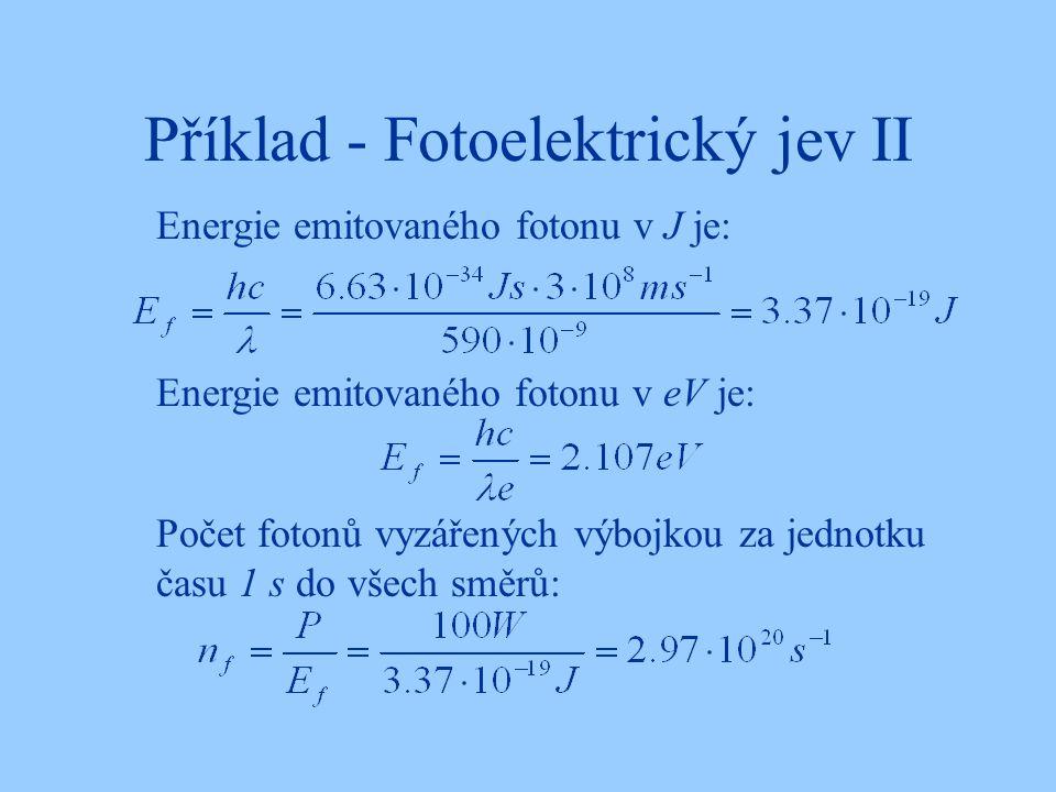 Příklad - Fotoelektrický jev II