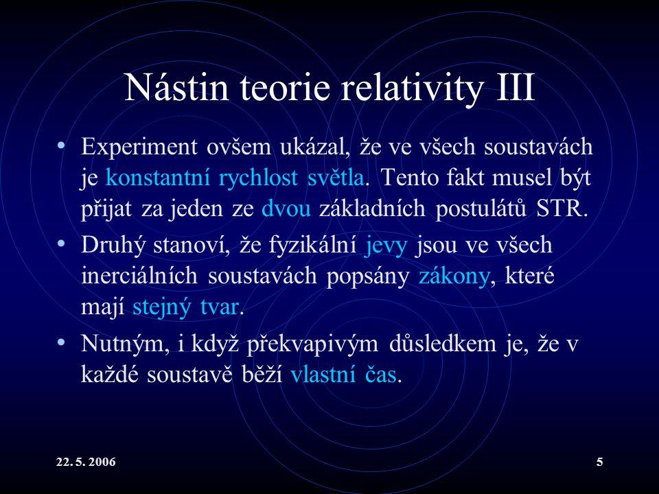 Nástin teorie relativity III