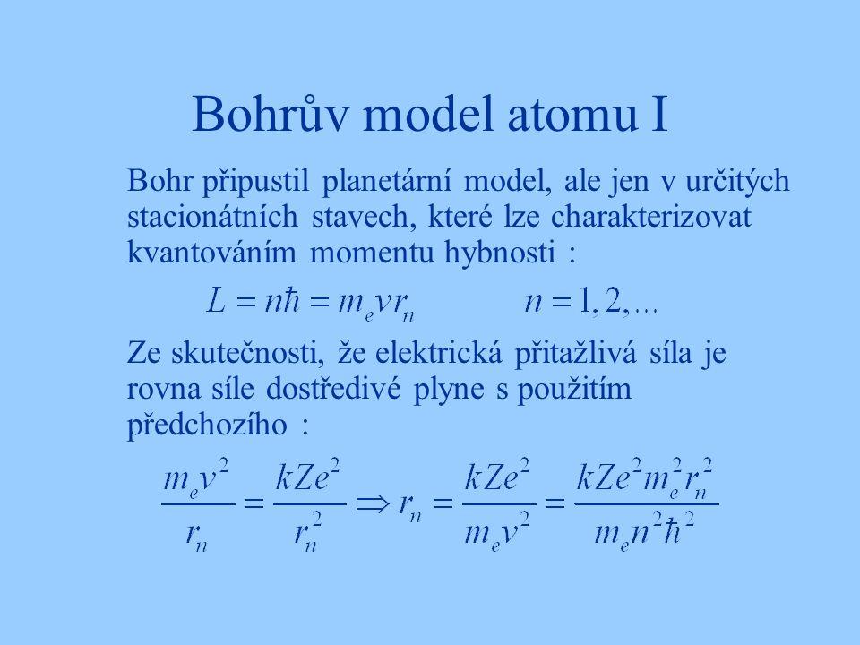 Bohrův model atomu I